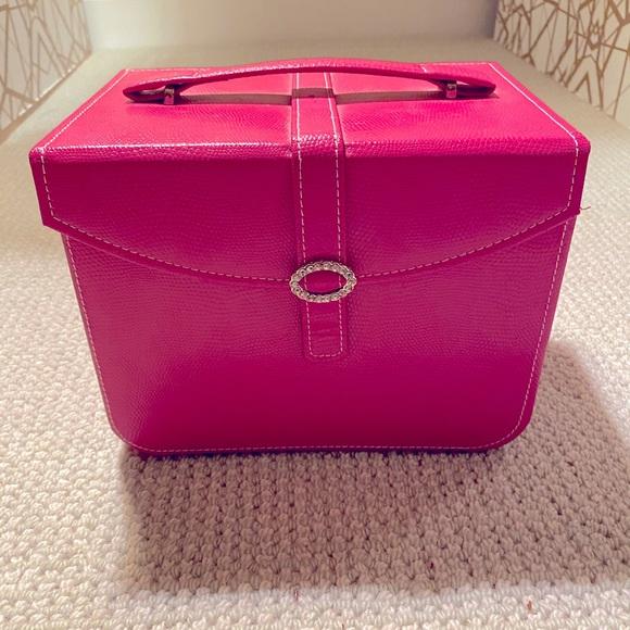 Hot pink faux snakeskin jewelry trunk